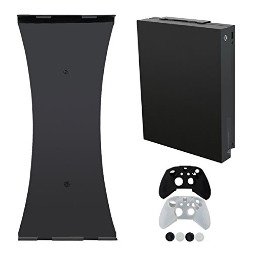 Pandaren Vertical Wall Mount for Xbox One X (2017 4K Model) with 2pcs Silicone Controller Cover and 4pcs Thumb grips