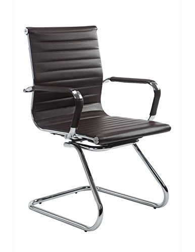 Wahson Ribbed Leather Office Guest Chair with Arms, Quality Plating, Sled Base, Brown