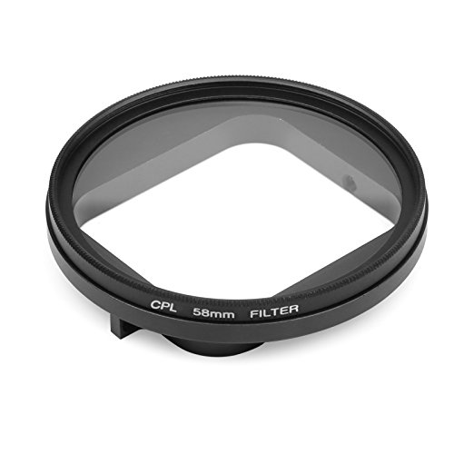 D&F 58mm Professional CPL(Circular Polarizer Lens) with Lens Cover and Adapter Ring for GoPro Hero 6/5 Original Waterproof (Polarizing Adapter)