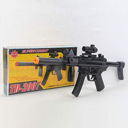 Machine Gun Black - A&N Battery Operated Combat Electric MP5 Toy Gun with Light Sound and Vibration