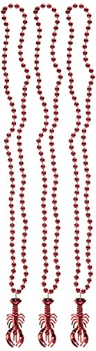 Beads w/Crawfish Medallion (3/Card) (Medallion Bead Necklace)