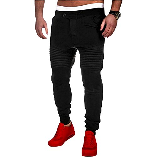 XWDA Mens Hip Hop Quilted Dance Fleece Jogger Pants(XL, Black) by XWDA
