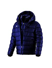 Fuerza Mens Winter Down Wellon Special Collection Hooded Double Layer Parka Jacket - Dark Navy - Medium