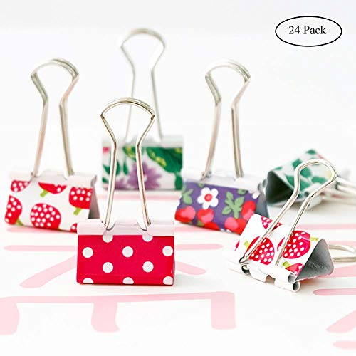 Assorted Color Medium Bulldog Paper Clips, Coideal 24 Pack 1 inch Colored Binder Clip Metal Food Bags Seal Clamp with Cute Lovely Pattern for Pictures Photos, Home Kitchen Office Supplies - Binder Clip Design