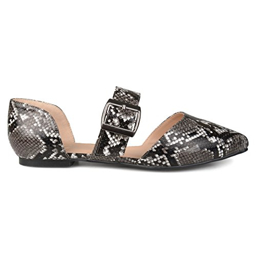 Brinley Co. Womens Pointed Toe Buckle Faux Leather Flats Black Snake, 8 Regular - Buckle Snake