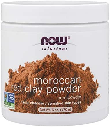 NOW Solutions, Moroccan Red Clay Powder, Pure Powder for Sensitive Skin Facial Mask, 6-Ounce