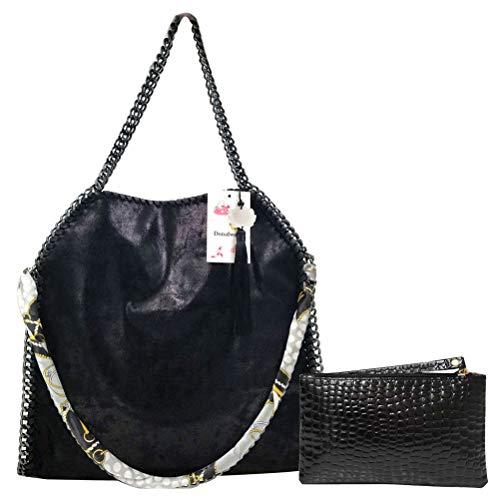 - Donalworld Women Chain Paillette Casual Tote PU Leather Shoulder Bag Purse L Black
