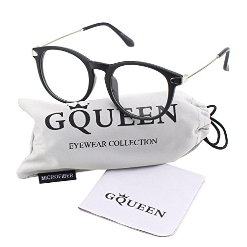 GQUEEN 201588 Fashion Oval Horn Rimmed Keyhole Metal Temple Clear Lens Glasses,Matte - Rimmed Horn Fake Glasses