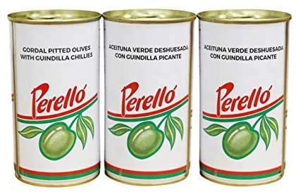 Perello Gordal Pitted Green Olives, 3 x 350g
