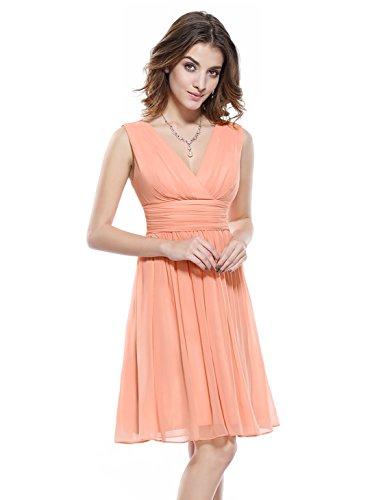 Cocktail Peach (Ever-Pretty Womens Knee Length Chiffon Bridesmaids Dress 12 US Peach)