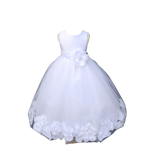 ekidsbridal White Floral Rose Petals Flower Girl Dress Birthday Girl Dress Junior Flower Girl Dresses 302s -