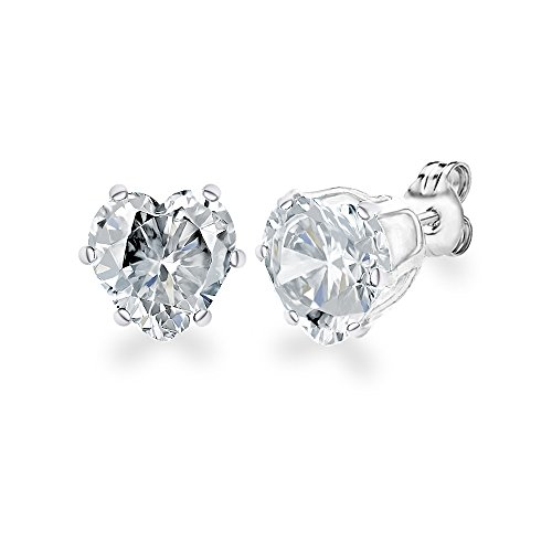 Diane Lo'ren 18KT White Gold Plated 8mm Gemstone Crystal Heart Cubic Zirconia Studs Cartilage Earrings Set For Women (Diamond)