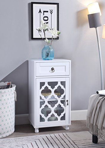 White Finish Accent Floor Storage Side Glass Cabinet Organizer Home Office Living Room Bedroom Bathroom Furniture with Door & Drawer by eHomeProducts
