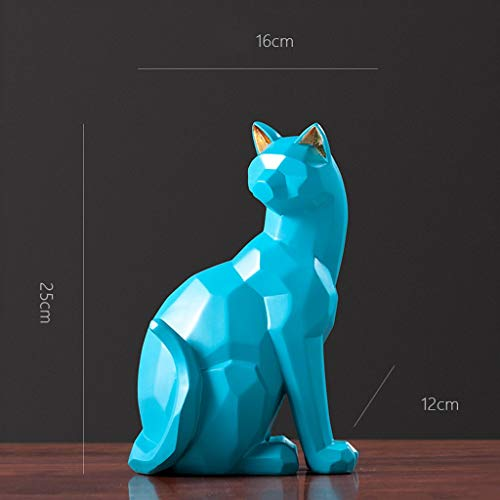 LUGEUK Color Geometric cat Decoration Sculpture Decor Statue Figure Gift Ornament Souvenir (Color : Blue)
