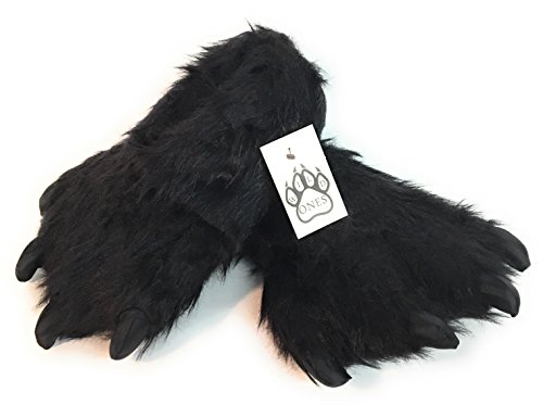 Wild Ones Furry Animal Claw Slippers For Toddlers, Kids and Adults Black Bear