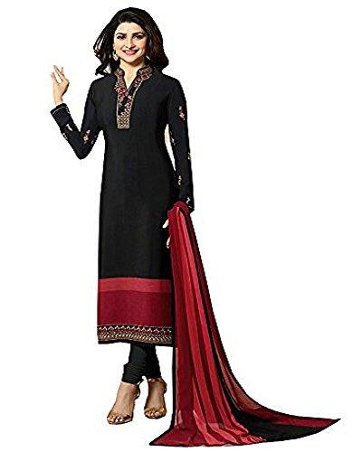 Laxminarayan Ready Made Black Royal Crepe Embroidered Indian Pakistani Churidar Salwar Suit (Customize Stitched)