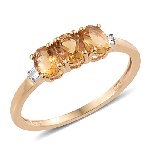 925 Sterling Silver 14K Yellow Gold Plated Oval Citrine Diamond Baguette Statement Ring Size 8 Ct 0.8