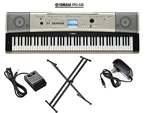 Yamaha YPG-535 Portable Grand Piano Keyboard 88 key package PKBX2 X-Style Keyboard Stand + KSP20 Foot Pedal + AC Adapter (CERTIFIED REFURBISHED)