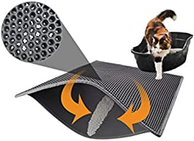 Pieviev Katzenklo Matte, Katzenstreu Matte Katzenklo Unterleger Waben Design Katzenklo Vorleger wasserdichte Doppelte...