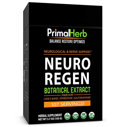 Nerve Support, Neuropathy and Nerve Pain Relief | Neuro Regen by Primal Herb | | Lion's Mane Mushroom, Epimedium, Sulforaphane Extract Powder - 113 Servings - Includes Spoon