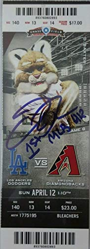 Joc Pederson Autographed Signed Ticket Stub Ins. 1St MLB Hr PSA/DNA