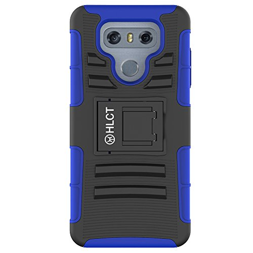 LG G6 Case, HLCT Rugged Shock Proof Dual-Layer PC and Inner TPU Case With Built-In Kickstand for LG G6 (2016) (Blue)