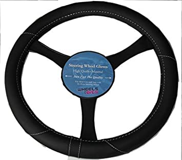 Steering Wheel Glove Cover Black And Blue Leather Look Universal 37-39cm