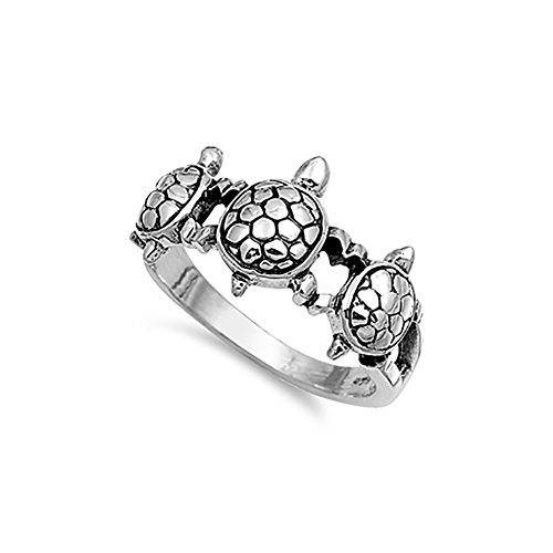 ays Split Open Shank 3 Turtle Band Ring 925 Sterling Silver (Open Shank Ring)