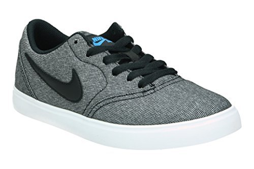 NIKE Boy's SB Check Canvas Skateboarding Shoes (4 Big Kid M, Black/Black/White/Photo Blue) ()