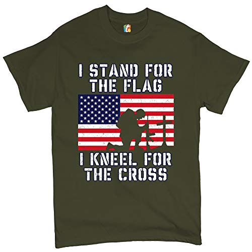 I Stand for The Flag I Kneel for The Cross T-Shirt Patriotic Military Military Green XL