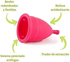 Copa Menstrual Ecológica - Talla S - Sistema antigoteo patentado, Fabricada en España, con bolsa de algodón ecológico, Sin siliconas o alérgenos: Amazon.es: Belleza