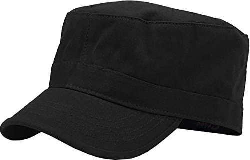 (KBK-1464 BLK L Cadet Army Cap Basic Everyday Military Style Hat)