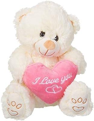 Pembe Kalpli Hediyelik Pelus Beyaz Ayicik 28cm 1 Adet Amazon Com Tr