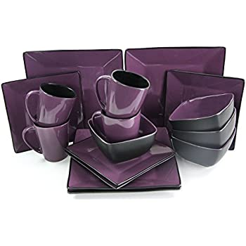 Elama 16 Piece Loft Modern Premium Stoneware Dinnerware Set with Complete Settings for 4 Mulberry  sc 1 st  Amazon.com & Amazon.com | Elama 16 Piece Loft Modern Premium Stoneware Dinnerware ...