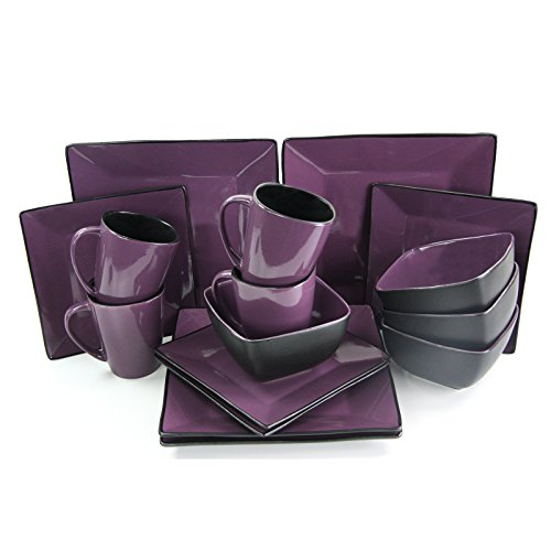 Elama 16 Piece Loft Modern Premium Stoneware Dinnerware Set with Complete Settings for 4, Mulberry (Dishes Purple)