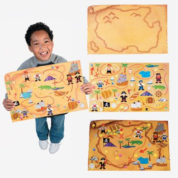 12 giant pirate treasure map sticker scenes for kids crafts parties