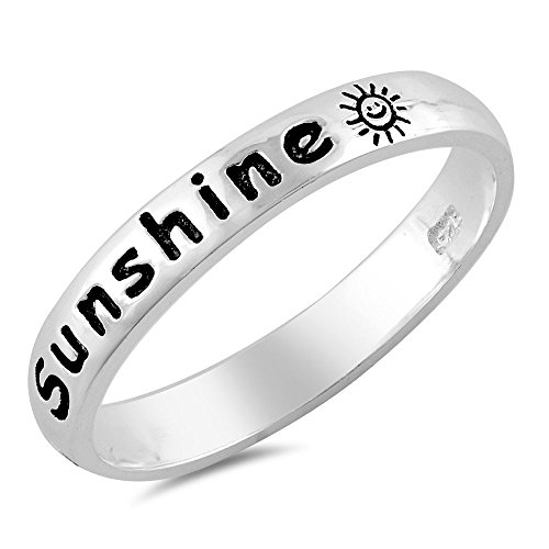 Sterling Silver Women's Ring You Are My Sunshine 3MM Size (You Are My Sunshine Ring)
