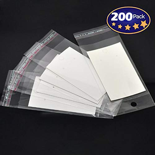 200 Sets-Paper & Plastic Jewelry Earrings Display Cards Rectangle White W/Self-Seal Bags - Blank for You to Customize (Ring Gallery 14k)