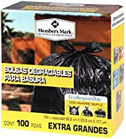BOLSAS PARA BASURA EXTRA GRANDES MEMBERS MARK CAJA CON 100 PIEZAS LIMPIEZA DESECHABLES RESIDUOS CASA OFICINA N