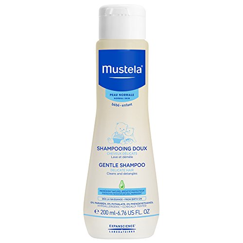 Mustela Gentle Shampoo, Tear-Free Baby Shampoo with Natural Avocado Perseose, 6.7 Fl. oz. (Cradle Mustela Cap)