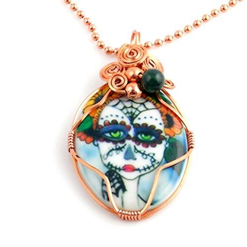 Porcelain Cameo Pendant Necklace - 9