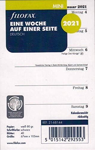 Filofax 2021 Kalender Mini A8 Kalendarium 1Woche 1Seite Wochenplaner Deutsch 21-68144