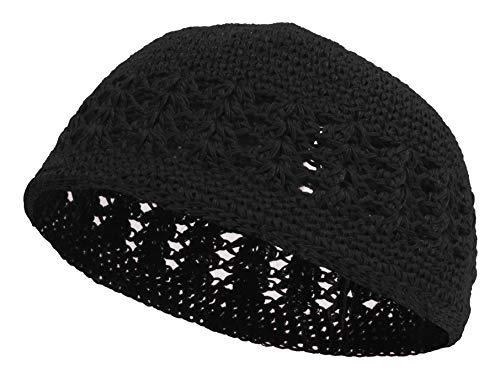 Knitted Head Beanie Hand Crocheted, Black (Black Beanie Crocheted)