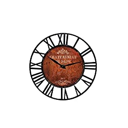 Ibobo Shop Farm House Vintage Wall Clock with Wine Chateau Design Theme and Chic Style Battery Operated Black Rustic Metal Wall Clock for Kitchen,Home,Living Room 16 inch.