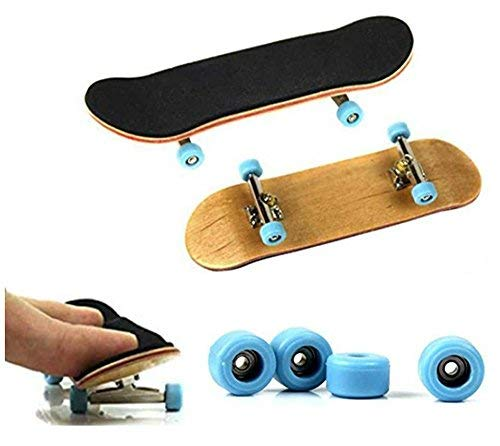 HAPTIME Professional Wooden Finger Skateboard Complete Mini Fingerboard with Soft Pad and Bearing Wheels, Maple Finger Board Need to Assemble, Finger Toy for Kids and Fingerskateboard Fans (Best Skateboard Wheels For Wood Ramps)