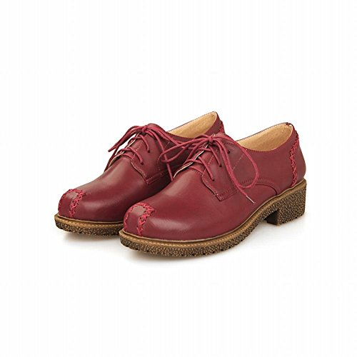 Show Shine Womens Fashion Retro Casual Oxfords Scarpe Vino Rosso