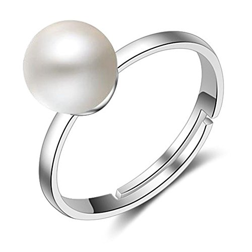 - S925 Silver Plated Vintage Simple Elegant Created Pearl Women Open Band Ring,adjustable