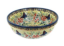 Polish Pottery Blue Butterfly Dessert Bowl