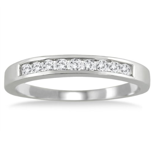 AGS Certified 1/4 Carat TW Channel Set Diamond Band in 10K White Gold (K-L Color, I2-I3 Clarity)