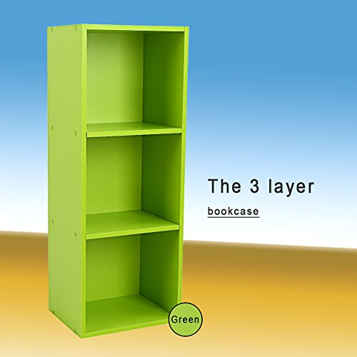 Yosoo Wood Display Shelf Storage Bookshelf 3/4 Tier Bookcase Stand Rack Cube Unit (3 Cubes, Green)